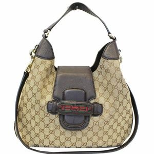 GUCCI Dressage Monogram Web Hobo Bag Dark Brown